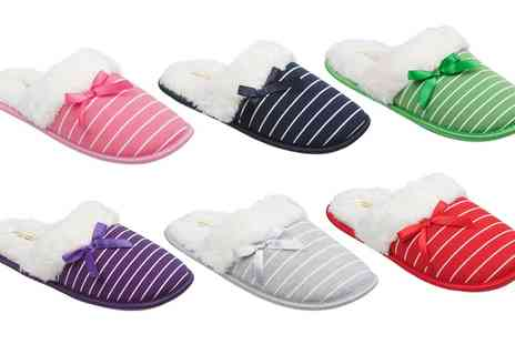 Groupon Goods Global GmbH - Womens Stripy Slippers with Bow - Save 0%