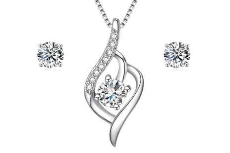 Groupon Goods Global GmbH - Sreema London Flame Necklace and Earrings Set - Save 66%