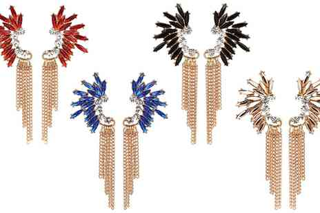 Groupon Goods Global GmbH - One or Two Pairs of Crystal Chain Earrings in Choice of Colour - Save 83%