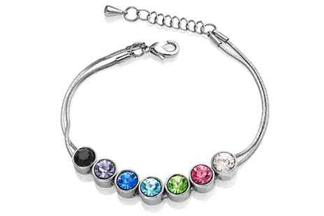 Groupon Goods Global GmbH - One or Two Coloured Round Crystals Bracelets with Crystals from Swarovski - Save 77%