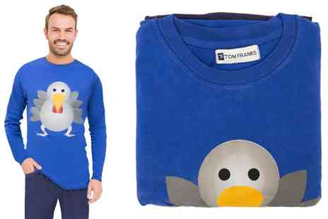 Groupon Goods Global GmbH - Mens Christmas Blue Turkey Two Piece Pyjama Set in Choice of Size - Save 50%