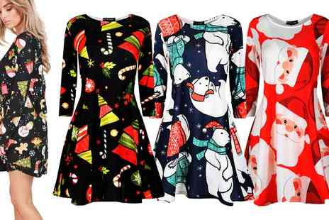 Groupon Goods Global GmbH - Be Jealous Christmas Swing Dress in Choice of Design - Save 0%