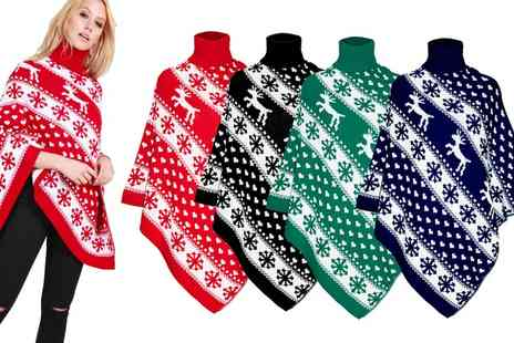 Groupon Goods Global GmbH - Be Jealous Christmas Knitted Reindeer Poncho - Save 0%
