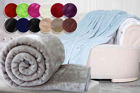 Bedding Place - Single, double or king size faux mink fur throw select from 15 colours - Save 73%