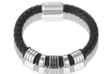 GameChanger Associates - Mens genuine leather bracelet with titanium beads - Save 78%