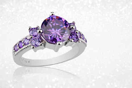 Your Ideal Gift - Created amethyst ring choose from four sizes - Save 76%
