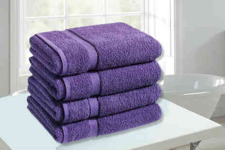 Groundlevel - Four super soft Egyptian cotton bath sheets choose from 14 colours - Save 81%