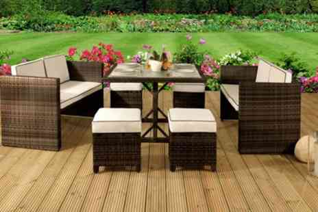 Groupon Goods Global GmbH - Maratea Rattan Effect Sofa and Stools Outdoor Furniture Set in Choice of Colour With Free Delivery - Save 64%