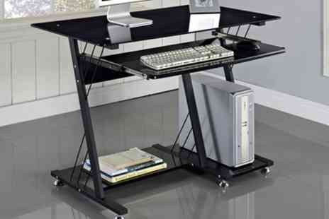 Groupon Goods Global GmbH - Small or Medium Black High Gloss Computer Desk With Free Delivery - Save 46%