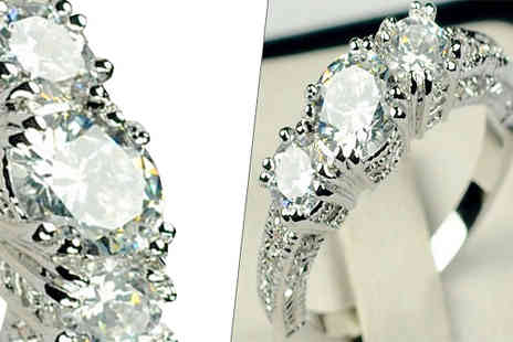 Girly Glitz - White Simulated Cubic Zirconia Ring Choose Four Sizes - Save 85%