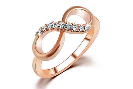Girly Glitz - Nine Stone Infinity Ring Available in Four Sizes - Save 90%