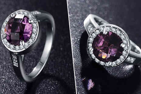 Girly Glitz - Purple Cubic Zirconia Ring Available in Four Sizes - Save 88%