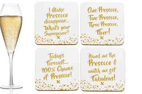 Direct 2 public - Set of 4 Prosecco Coasters - Save 80%