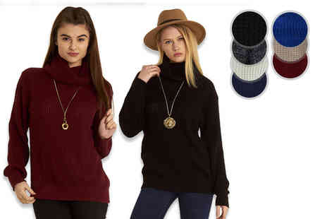 Be Jealous - Long sleeved high neck baggy jumper choose from seven colours - Save 67%