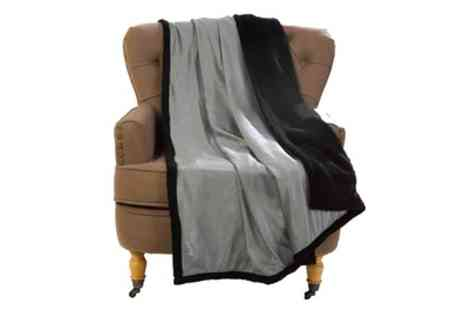Groupon Goods Global GmbH - Two Soft Metallic Reversible Sherpa Throws - Save 83%
