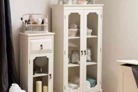 Groupon Goods Global GmbH - Glass Door, Double Door or Laundry Ivory Coloured Cabinet With Free Delivery - Save 48%