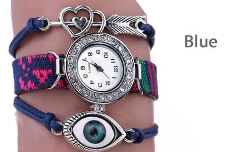 YEPKO - Eye and Heart Charms Wrap Watch Choose Five Colours - Save 70%