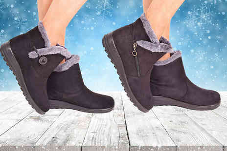 Solewish - Pair of black winter ankle boots - Save 65%