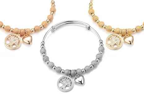 Groupon Goods Global GmbH - Philip Jones Tree of Life Bangle with Crystals from Swarovski - Save 79%