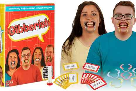 Groupon Goods Global GmbH - Gibberish Family Game with Additional Mouthpieces and 18 Plus Cards - Save 60%