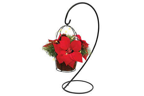 Jersey Plants Direct - Led Hanging Plant Stand with Artificial Poinsettia Flowers With Free Delivery - Save 29%