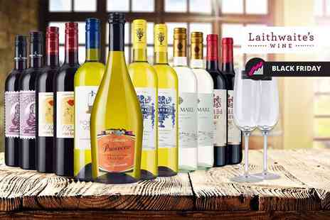 Laithwaites - 12 bottle selection of exclusive boutique wine including two Champagne flutes choose from all white, all red or mixed collections - Save 61%