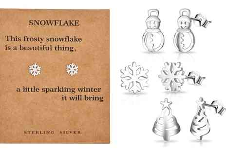 Groupon Goods Global GmbH - One or Three Pairs of Philip Jones Sterling Silver Christmas Themed Earrings - Save 80%