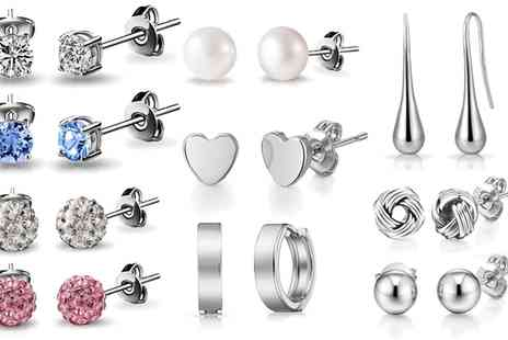 Groupon Goods Global GmbH - Five or Ten Pairs of Shaped and Crystal Stud Earrings - Save 75%