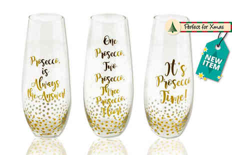 Direct 2 Publik - Three piece Prosecco stemless flute set - Save 70%