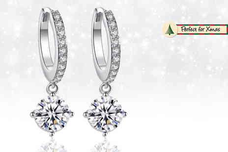 GameChanger Associates - Pair of single drop earrings Made with Crystals from Swarowski - Save 87%