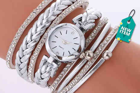 Solo Act - Layered crystal wrap watch choose from three colours - Save 76%