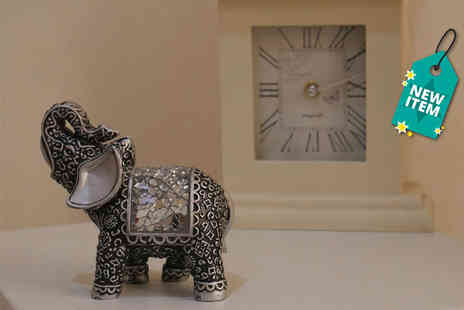 SHS Trading - Silver mosaic elephant figurine - Save 59%