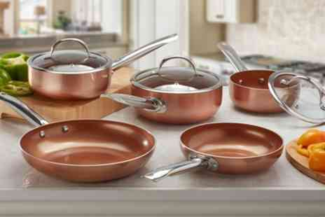 Groupon Goods Global GmbH - Two, Three or Five Piece Cooks Professional Copper Ceramic Pan Set - Save 65%