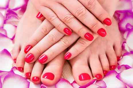 Glambox Nails - Shellac Fingernails, Toenails or Both with Optional Acrylics or with Mani, Pedi or Both - Save 33%