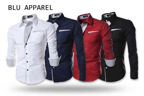 Bluebell Retail - Mens contrast trim shirt choose from four colours - Save 0%