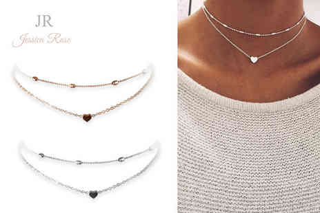 Solo Act - Two pack of jessica rose double row heart chokers - Save 83%