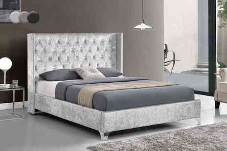 Limitless Base - Double wingback designer fabric bed or include four drawers choose between four colours - Save 75%