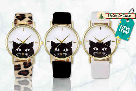 Solo Act - Peeping cat watch choose from black, white or leopard print - Save 79%