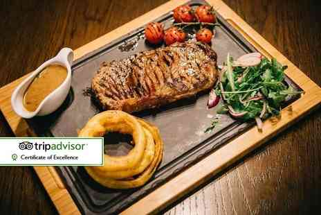 Solo Restaurant plus Bar - 8oz rump steak dinner for two with a salad, side dish and sauce each - Save 51%