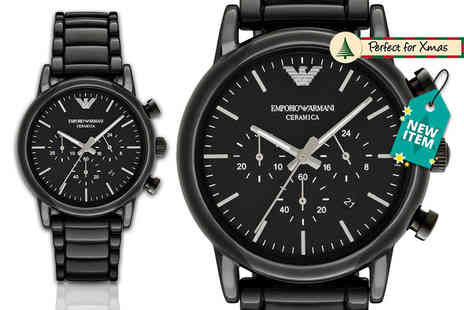 D2 Time - Mens Emporio Armani AR1507 black ceramic watch - Save 61%