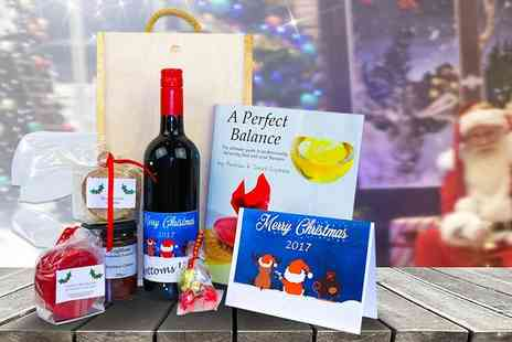 Coghlans Cookery School - Personalised wooden box Christmas hamper including wine, cheese, chutney, chocolates and more - Save 67%