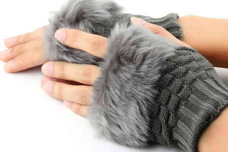 Who Runs The World - Cable Knit Faux Fur Trimmed Gloves Available in Two Colours - Save 67%