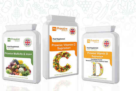 Prowise Healthcare - Vitamin C or Vitmain D capsules or multivitamin and iron capsules or Vitamin C and D capsule bundle - Save 74%