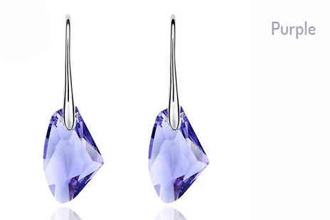 Romatco - 18K Gold-Plated Swarovski Elements Stone Drop Earrings Choose from Four Colours - Save 73%