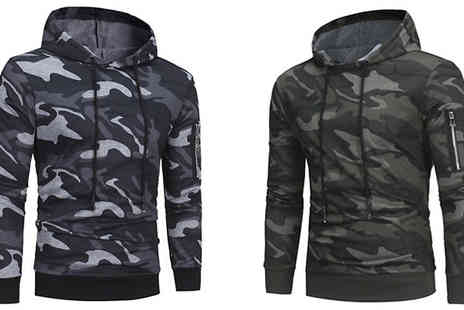 Blu Apparel - Mens Camo Print Hoodie Available in Two Colours - Save 57%