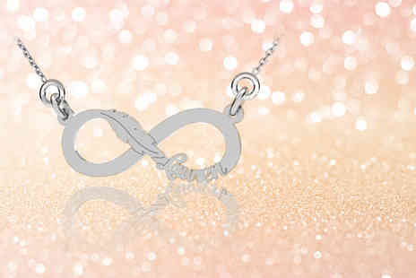 Jewells House - Sterling silver personalised infinity leaf necklace - Save 83%