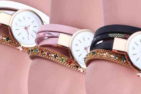 Groupon Goods Global GmbH - Mayra Wrap Watch with Crystals from Swarovski in Choice of Colour - Save 80%