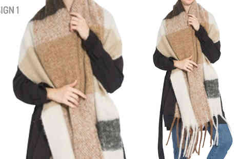 Shapelle - Oversized Checked Scarf Available in Three Designs - Save 22%