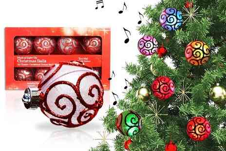 Craze UK - Pack of eight musical light up Christmas baubles - Save 50%