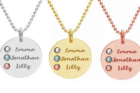 Jewells House - One, Two or Three Personalised Name Disc Necklaces with Crystals from Swarovski With Free Delivery - Save 69%